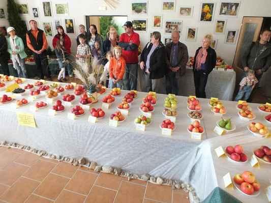 Hosté vernisáže Čtvrté regionální výstavy ovoce a okrasných dřevin v nové výstavní hale Arboreta Šmelcovna.